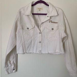 Coachella X Pacsun white cropped jean jacket